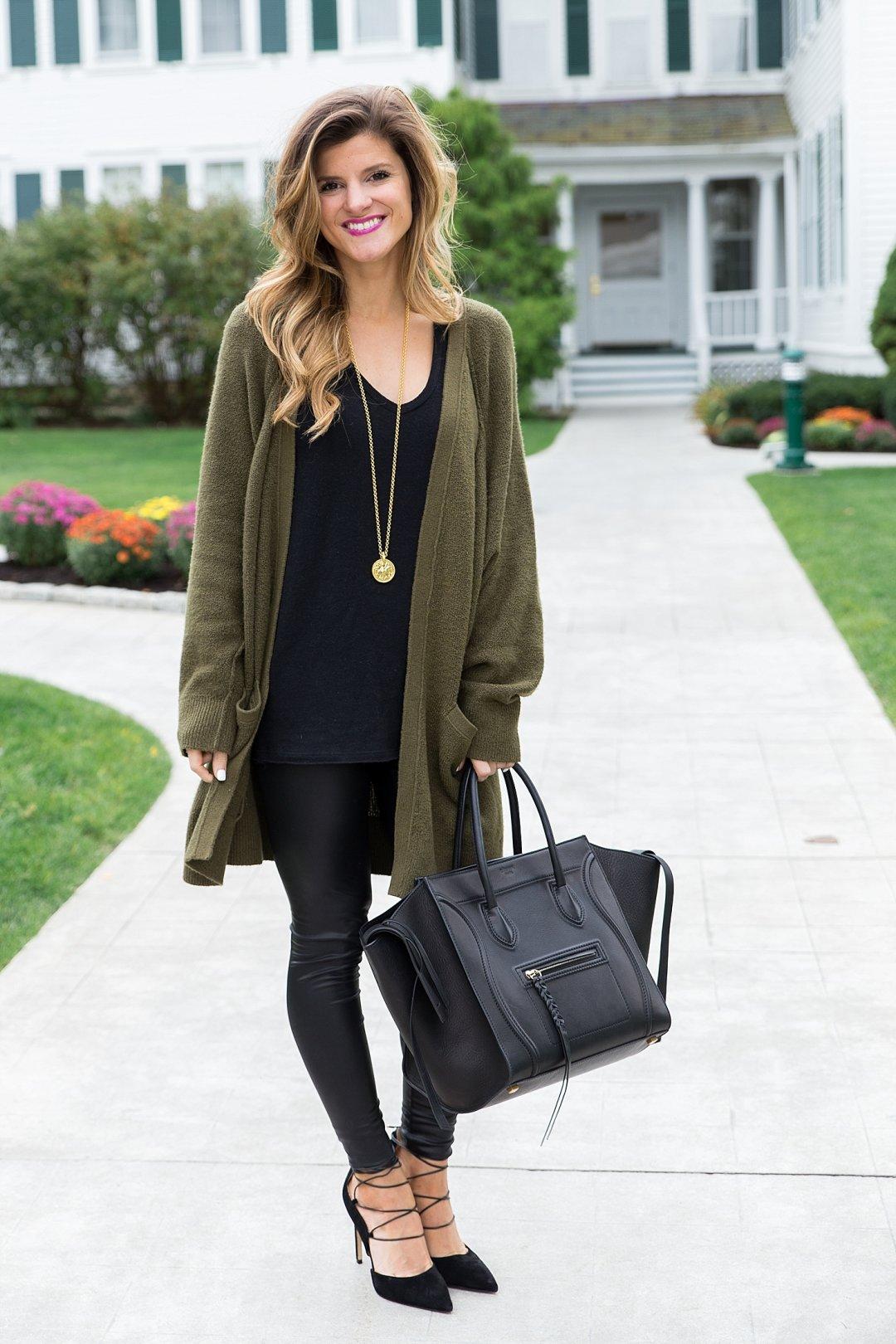 Olive Green Sweater Leather Leggings Black Tunic Golid