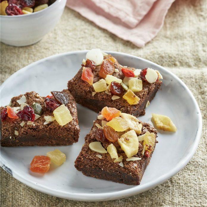 brownie con frutas